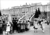 The Petrodvorets palace, southwest of Leningrad, has beautiful gardens and hundreds of fountains