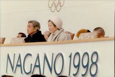 Japanese emperor Akihito with his wife Emperor Michiko during the opening of the Winter Olympics in 1998