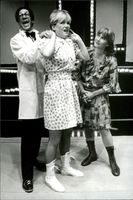 "Kjell Bergkvist, Elisabet Edgren and Monica Nilsen in ""Tanzi"" on Intiman."