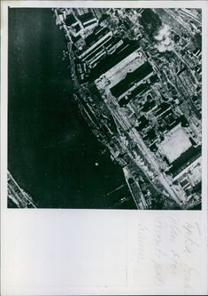 Aerial view of an explosion in the city of Russia during the World War I