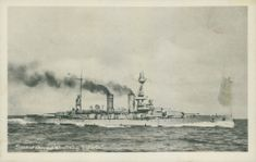 Postcard with HMS Queen Victoria. - 15 September 1917