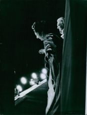 Renata Tebaldi bowing down after performance on stage. 1960.