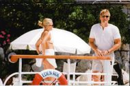 Paparazzi host of Dolph Lundgren and his female company taken during a stay in France.