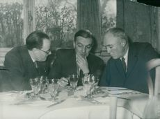 French Foreign Minister Georges Bidault in talks with English Ambassador Sir Oliver Harvey & Mr Brombright from the United States Embassy