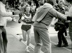 Stockholm Marathon 1987. Evy Palm, winner of the women's class