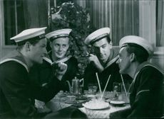George Fant, Hasse Ekman, Kotti Chave and Åke Söderblom from the film Cadet Comrades.