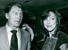 American actor and singer Jack Palance with his daughter Brooke Palance, they are smiling