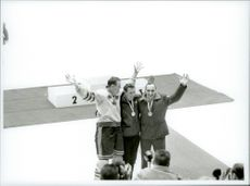 Ice Hockey player Sven Tumba at the award ceremony during the Winter Olympics in Innsbruck in 1964