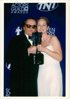 Actors Jack Nicholson and Helen Hunt with each statue at Actors Guild Awards