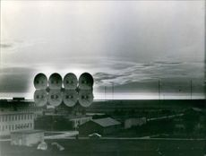 Tower with large disks used in monitoring by the Russian cosmonauts. Photo taken on March 17, 1968.