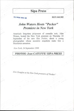 """Eric Douglas arrives at the premiere of John Waters Host's """"Pecker""""."""