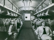 An inside view of an airplane.