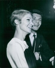 Frankie Avalon smiling with Kathryn Diebel. Photo taken on January 26, 1967.