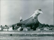 The Anglo French Concorde 02 taking off from the Fairford the BAC center in Gloucestershire.