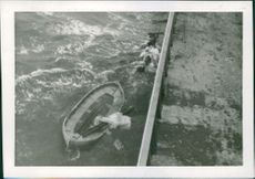 "A boat named ""Ostanhav"" sinking in the water.  Taken - Sept. 1963"