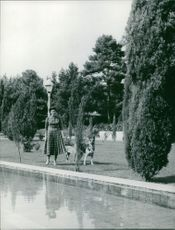 Princess Soraya beside the pool with her dogs.