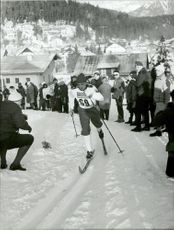 Skiers in the 3-mile during the Winter Olympics