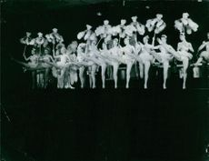 Blue Bell girls performing on stage at Lido, Paris.  - 1958
