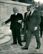 Lord George Brown (r) grasping the hand of Signor Fanfani