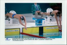 OS in Atlanta 1996. Aleksandr Popov and Gary Hall at the start of the finals in 50m Frisim