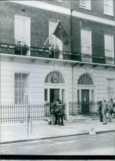 1978  The frontage of the Chinese Embassy, with photographers in attendance, at 31, Portland place, London.