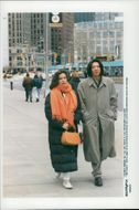 Bianca Jagger along with a friend on Broadway