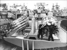Soviet navy controls missiles before departure in the Pacific