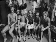 Some guys from Hammarby IF in the dressing room