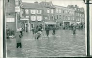 Floods 1966-1989:The square in blandford.