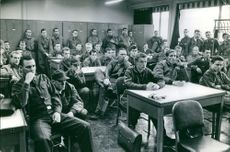 wartime Germany 1960 Soldiers attending a military tribunal hearing..