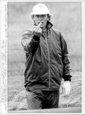 Anders Forsbrand shows his finger to the photographer after a gross miss in the British Open
