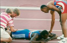 Friidrotts World Cup in Gothenburg. Linford Christie injured in the 100m finale