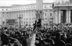 People gathered for a ceremony, Pope Paul VI.