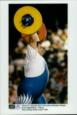 Russian weightlifter Andrey Saltsidis during the 1996 Olympic Games