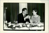 US President Ronald Reagan and his wife Nancy bowl of champagne after Reagan's win at the Detroit Republican National Convention