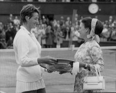 Princess Margaret handed over the Wimbledon shield to Margaret Court