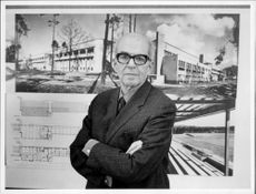 Portrait image of Fred Forbat who exhibits plans drawings at the Architectural Museum.