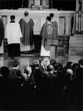 """People gathered in church for funeral of Robert Francis """"Bobby"""" Kennedy."""