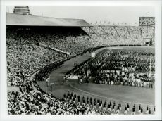 The Swedish squad marches in Wembley Station during the opening ceremony.