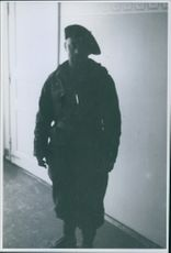 """A soldier in uniform standing in Namsos, Norway.  """"Norway French soldiers __ in Namsos""""  1940"""