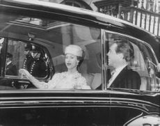 Princess Margaret and husband Antony Armstrong-Jones inside the car.