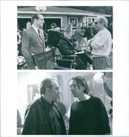 Stills from the film Coneheads with producer Lorne Michaels, Jane Curtin, Michael McKeanand director Steve Barron, 1993.