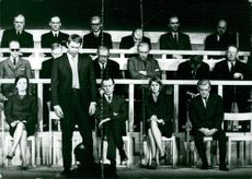 """The drama premiere of """"The investigation"""". In the first row: Anita Björk, Anders Ek, Olof Widgren, Barbro Larsson and Ragnar Falck"""