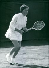"British tennis player F.E. (""Nell"") Truman in action. 1969."