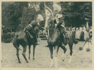 King Gustaf V Adolf surrender the banner of the horse at the Svea Life Guards jubileeum
