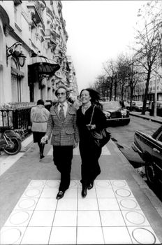 Portrait image of Marty Feldman and Mrs. Loretta taken during a stay in France.