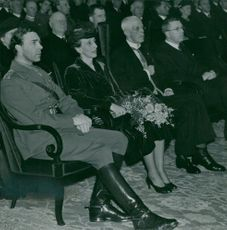 Gustaf Adolf, Louise Mountbatten, King Gustaf V and Gustaf VI Adolf at the Agricultural Week's meeting in the Concert Hall