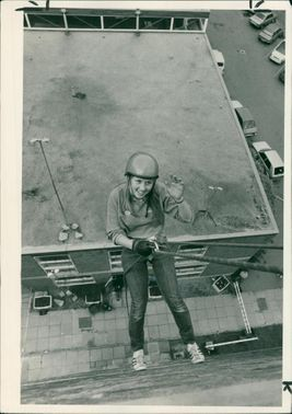 Schools 1980-1987:Jane larn leaving the roof.