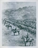 View of battle front, soldiers ready to attack during wartime.