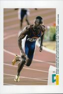 Michael Johnson runs in the finals of 400 ml his golden shoes during the Olympic Games in Atlanta in 1996